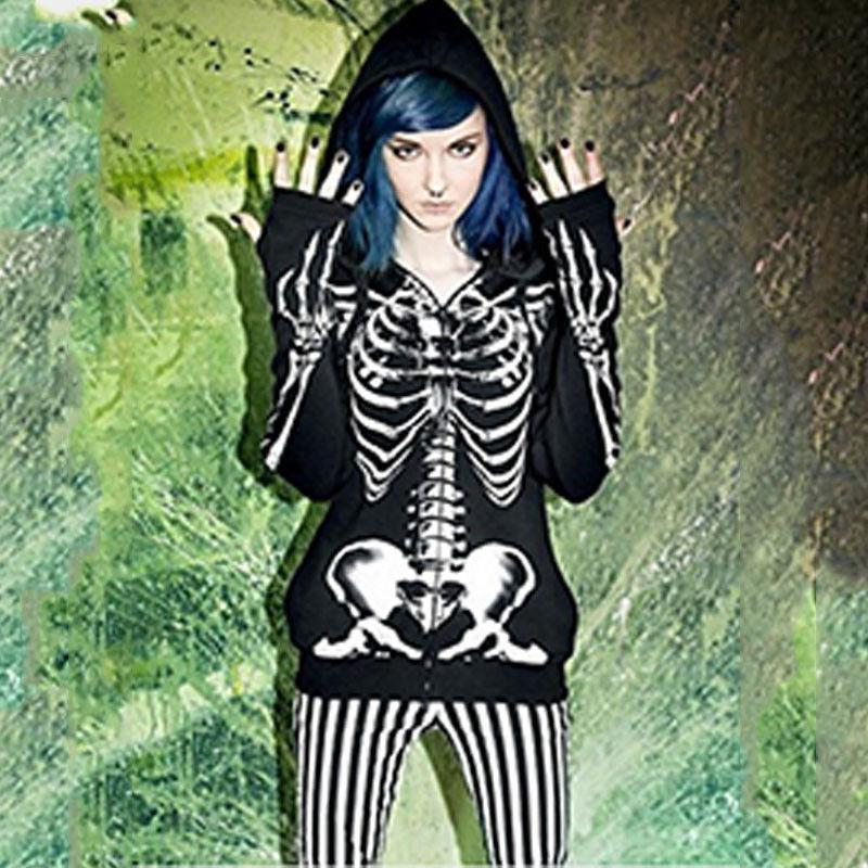 Plus Women Gothic Hooded Winter Tops
