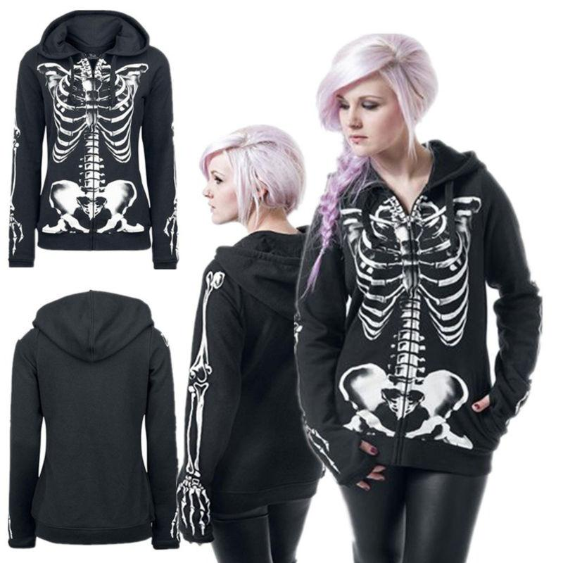 plus size women skull gothic punk hooded