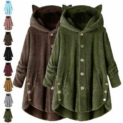 Plus Hooded Fluffy Coat Fur Loose Tops Outwear