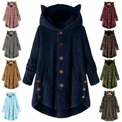 Plus Size Women Hooded Fluffy Coat Fur Jacket Outwear