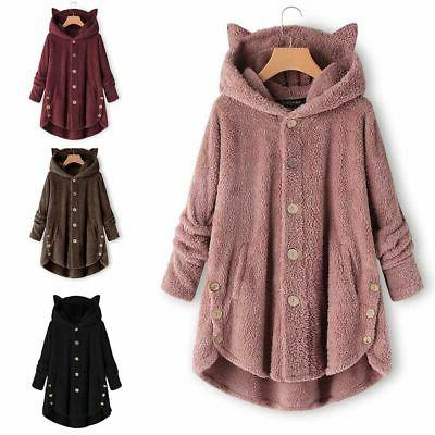 Plus Hooded Fluffy Fur Outwear