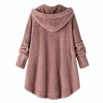 Plus Winter Hooded Fluffy Fleece Fur Jacket