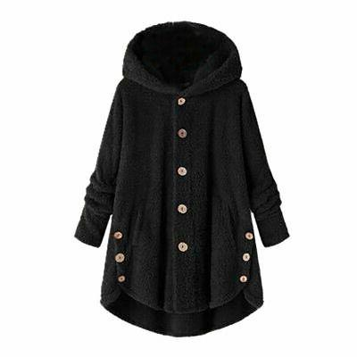 Hooded Fleece Fur Jacket Loose Coat US