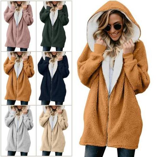 Women Winter Warm Fluffy Hoodie Fleece Jacket Coat