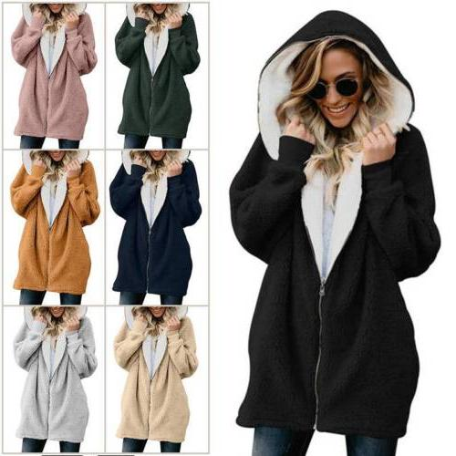 women winter warm fluffy hoodie fleece oversized