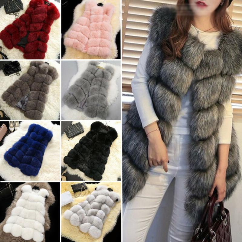 plus size ladies women faux fur vest