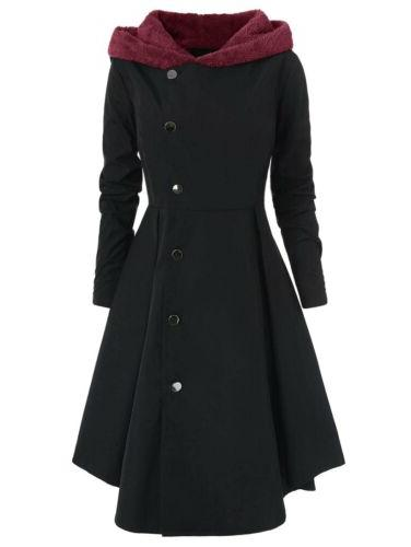 Plus Size Warm Peacoat Hooded Trench Jackets US