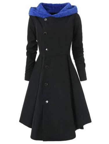 Womens Winter Long Coat Hooded Button Trench Jacket