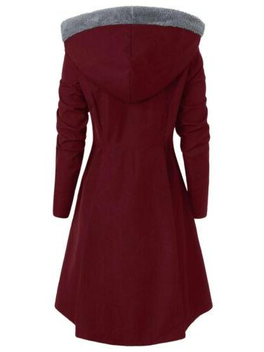 Plus Size Warm Peacoat Hooded Outwear Jackets US