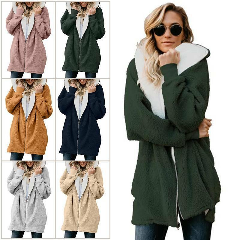 Women Winter Warm Fluffy Hoodie Oversized Jacket Zip