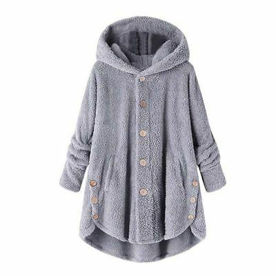 Plus Size Womens Hooded Fluffy Coat Cover