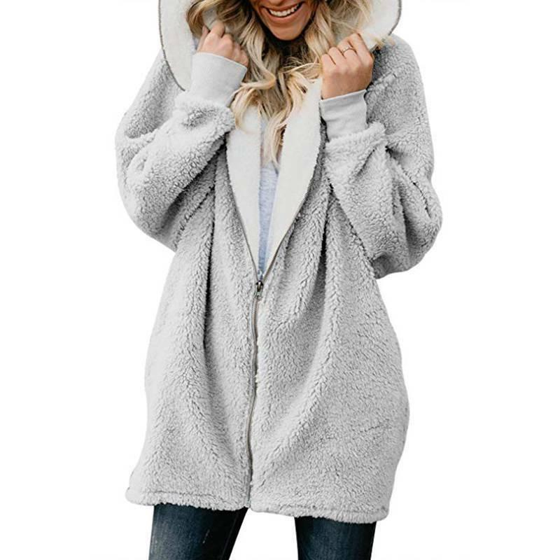 Plus Hooded Fluffy Fleece Fur Loose Tops Cover US