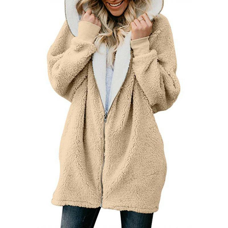 Plus Size Womens Hooded Fur Cover
