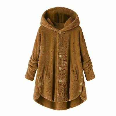 Plus Hooded Fluffy Fleece Fur Jacket Loose Tops Cover