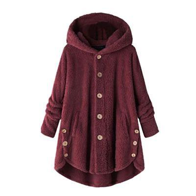 Plus Size Womens Hooded Fluffy Coat Fleece Fur Cover