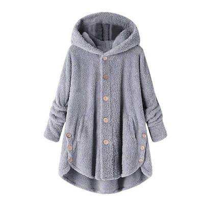 Women Hooded Fluffy Fur Jacket Tops Winter US