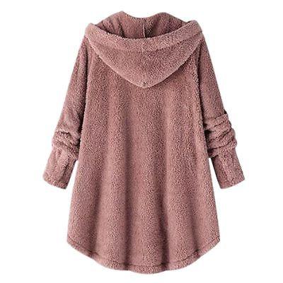 Plus Size Hooded Fluffy Fur Loose Tops Cover