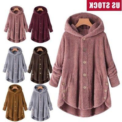 plus size womens winter hooded fluffy coat