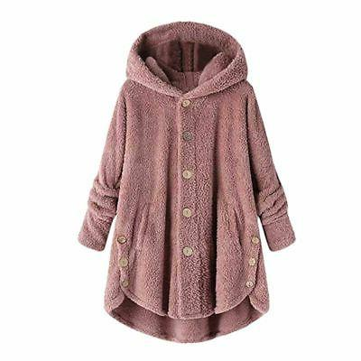 Plus Size Womens Hooded Fleece Jacket Loose Tops Coat
