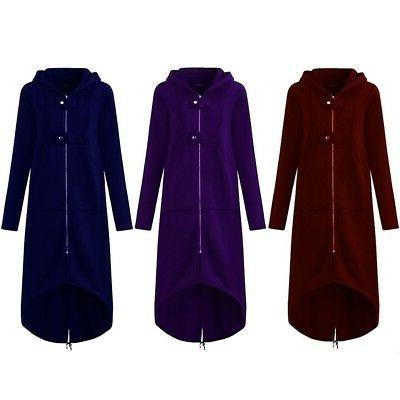 Plus Size Womens Winter Hooded Long Warm Fleece Jacket Outwear USA