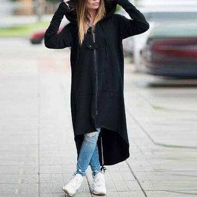 Plus Hooded Long Trench Warm Fleece Jacket USA
