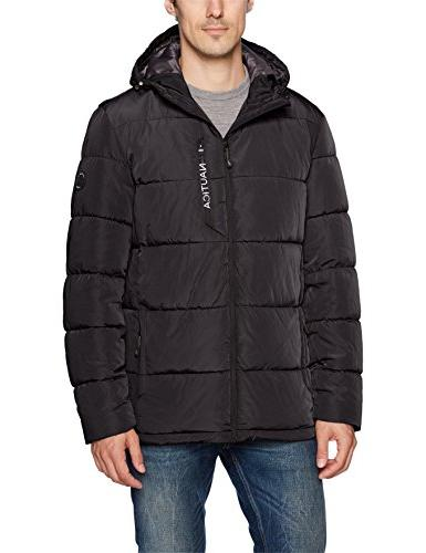 Nautica Men's Quilted Hooded Parka Jacket, Black, L
