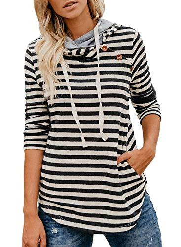 striped long sleeve double hooded