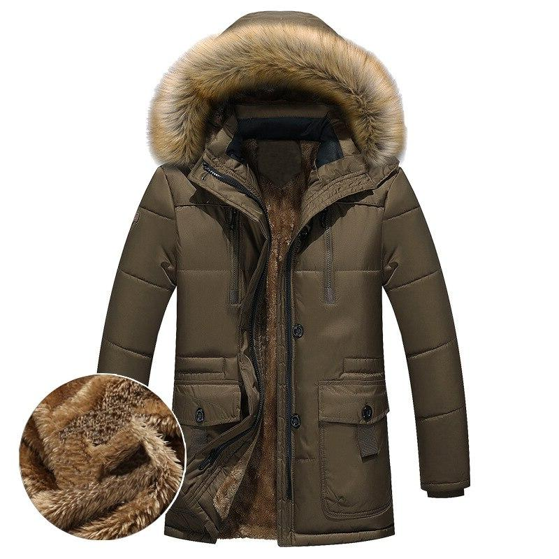 Thick Warm <font><b>Men</b></font> Fleece Fur Hood <font><b>Men</b></font> Jacket Military Medium-long <font><b>Mens</b></font>