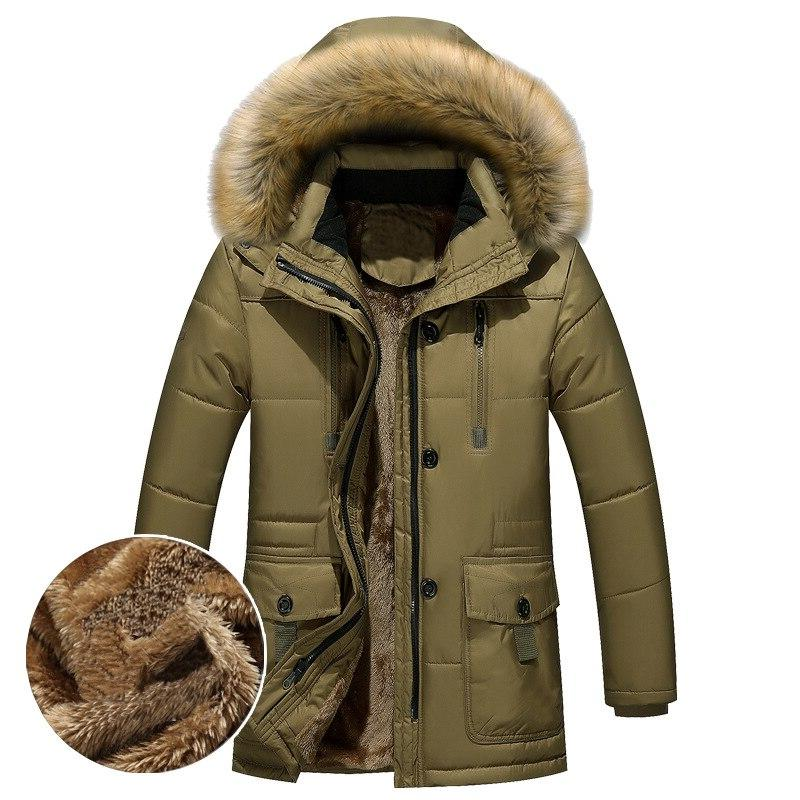 Thick Warm <font><b>Winter</b></font> <font><b>Men</b></font> Fleece Fur Hood <font><b>Men</b></font> Military Cargo Medium-long Overcoat