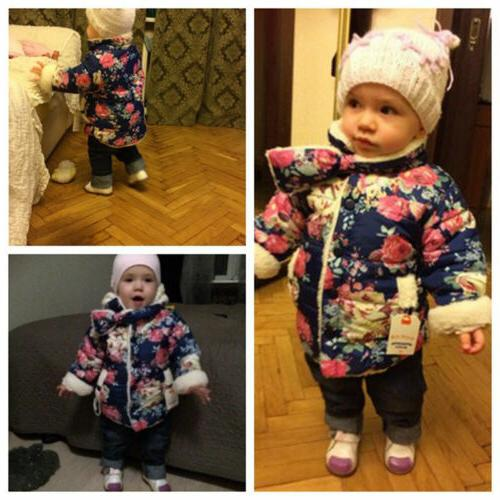 Toddler Winter Floral Warm Thick