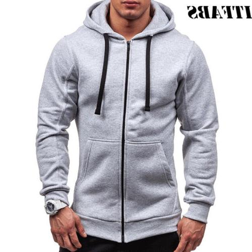 US Fashion Zip-Up Hoodie Winter Hooded Jumper Coats