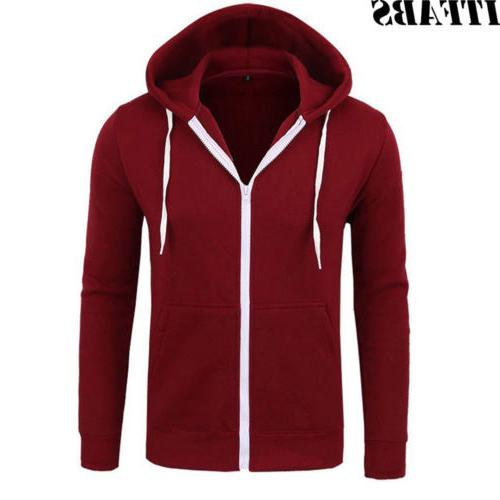 US Thick Zip-Up Winter Warm Hooded Jacket Jumper Coats