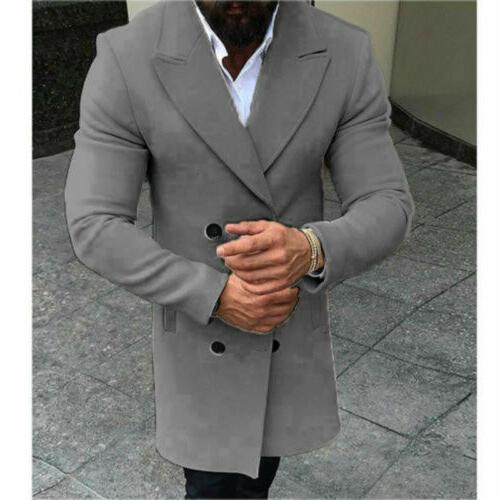 US Men Coat Trench Overcoat Jacket Tops