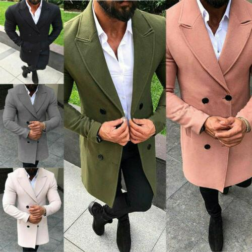 US Men Coat Trench Overcoat Long Jacket Tops