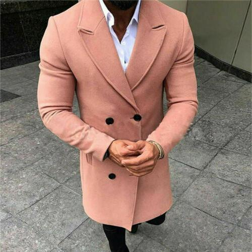 US Men Coat Trench Outwear Overcoat Jacket Tops