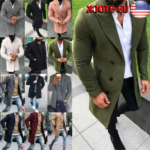 us men coat winter trench lapel outwear