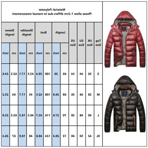Men Quilted Padded Bubble Hooded Coat Lightweight Winter