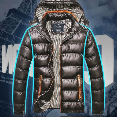 US Men's Hooded Thick Padded Jacket Zipper Casual Parka Coat