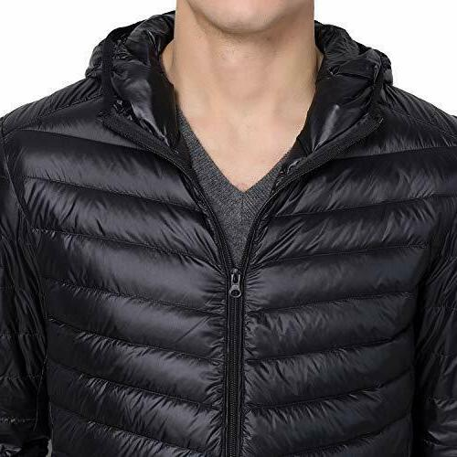 US Men's Warm Hooded Ultralight Jacket Packable