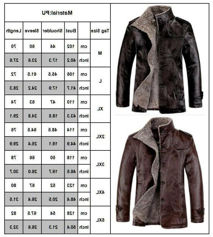 Mens Lamb PU Leather Warm Winter Thick Fleece Overcoat