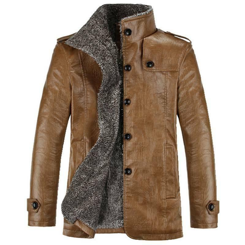 Mens Leather Warm Winter Lining Overcoat