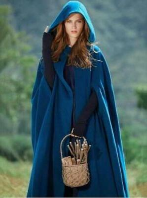 US STOCK Winter Hooded Long Cloak Jacket Costume Poncho Coat