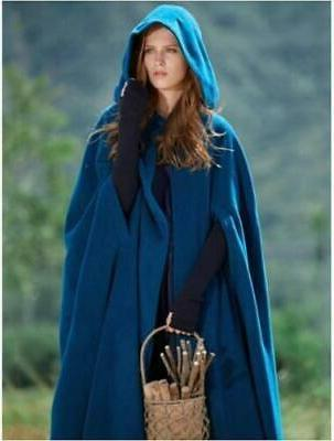 US STOCK Women Hooded Blend Cloak Jacket Coat
