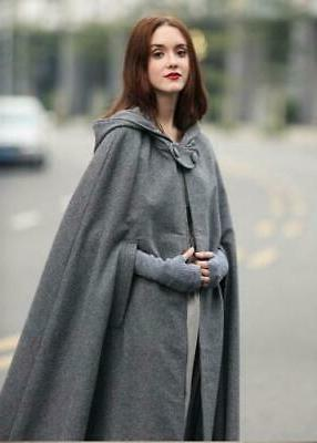 US Women Hooded Blend Cape Cloak Coat