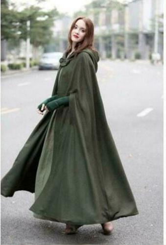 US STOCK Winter Hooded Cape Cloak Poncho Coat