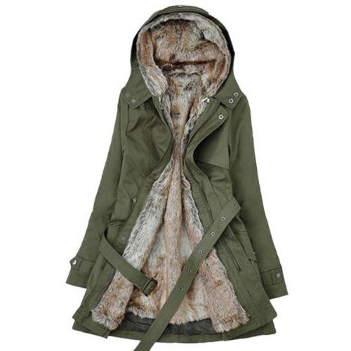 US Thick Coats Hooded Parka Fur Overcoat Jacket Outerwear