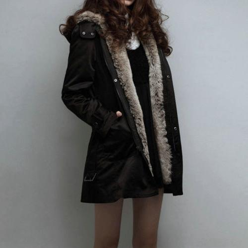 US Women Thick Coats Hooded Parka Fur Long Outerwear