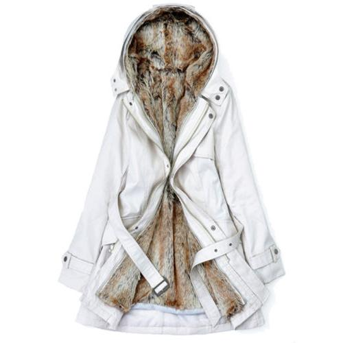 US Thick Coats Hooded Parka Faux Fur Overcoat Jacket Outerwear