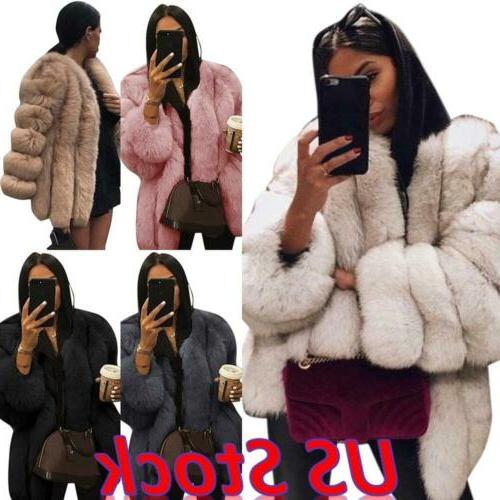 us womens winter fluffy faux fur jacket