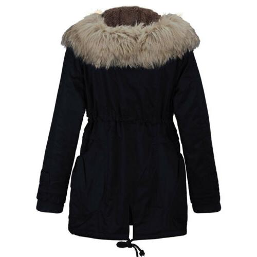 US Winter Fur Thick Peacoat Jacket Overcoat